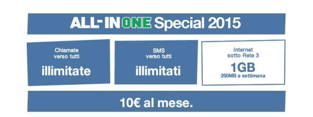 Tre All in One Special 2015 e Tre Super SMS