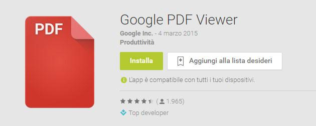 Google lancia PDF Viewer per Android sul Play Store