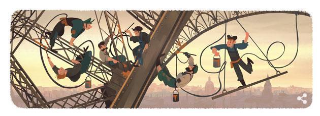 Google Doodle dedicato ai 126 anni della Torre Eiffel