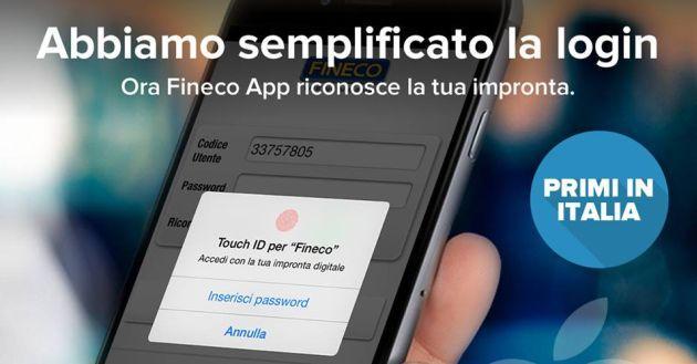 Apps: 008 Applicazione per segnalare barriere architettoniche, Fineco App con Touch ID