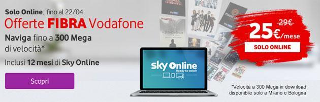 Vodafone Fibra regala 1 anno di Sky Online