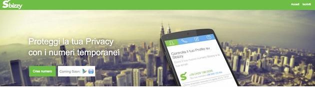 Sbizzy: numero di telefono temporaneo per proteggere la privacy online