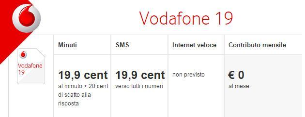 Vodafone 19, nuovo Tariffa Ricaricabile da Vodafone