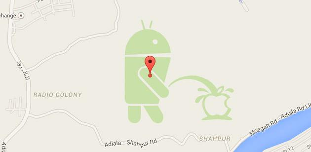 Google Maps: Scherzo in Pakistan, Android fa pipi' su logo Apple