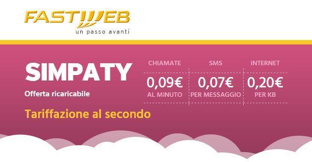 Simpaty di Fastweb: offerta ricaricabile senza costi fissi mensili