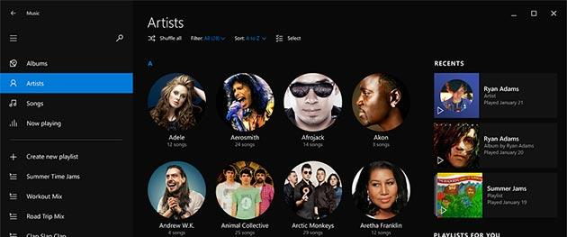 Microsoft in Windows 10 rinnova Musica, app copiata da Spotify