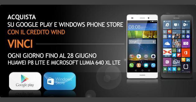 Wind: vinci Huawei Ascend P8 Lite e Microsoft Lumia XL fino al 28 Giugno