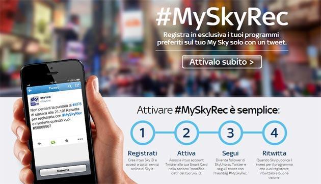 Sky, con un Tweet ora registriamo sul MySky