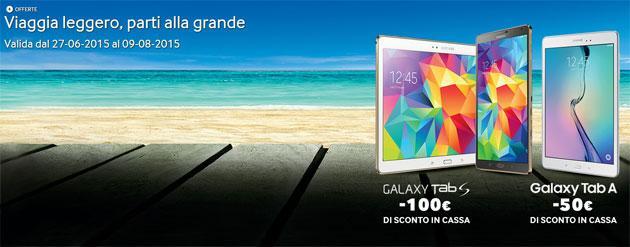 Samsung, sconto in cassa fino a 100 Euro per Galaxy Tab S e Tab A [scade 9 Agosto 2015]