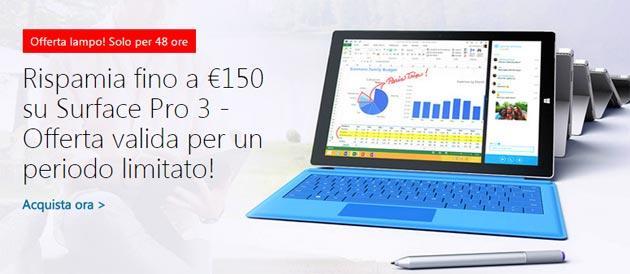 Microsoft sconta Surface Pro 3 fino a 150 euro