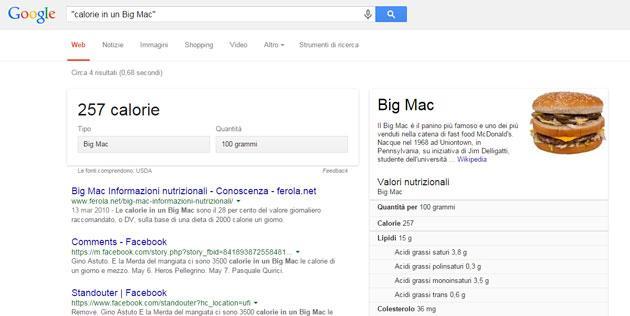 Google mostra calorie e valori nutrizionali dei piatti dei Fast Food