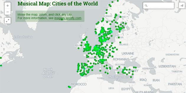 Spotify Music Map, la mappa del mondo in musica