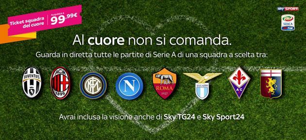 Sky Online, ticket mensile Calcio per vedere in streaming Serie A, Serie B e Europa League