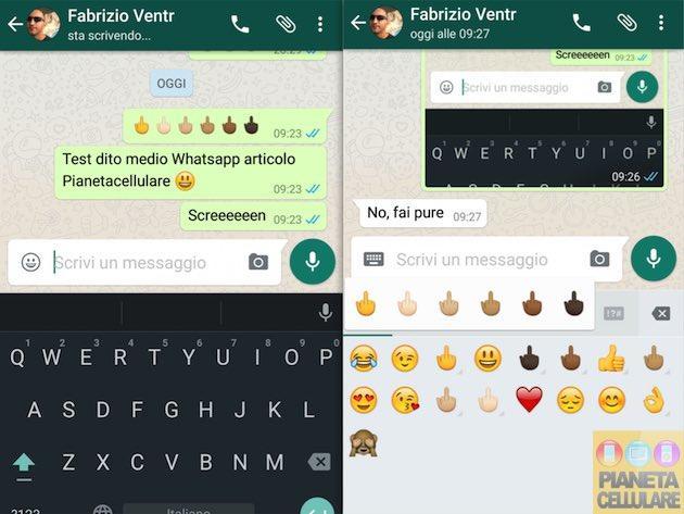 Whatsapp per Android si aggiorna ed introduce il dito medio
