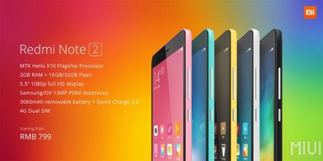 Xiaomi annuncia Redmi Note 2 e Redmi Note 2 Prime in Cina