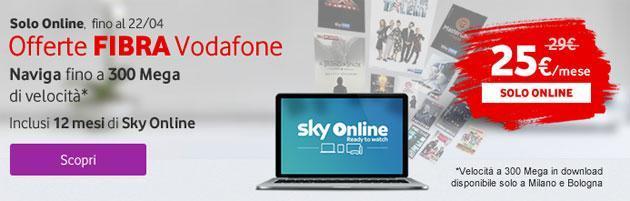 Vodafone Sky, nuova offerta Vodafone per Fibra e Sky Online