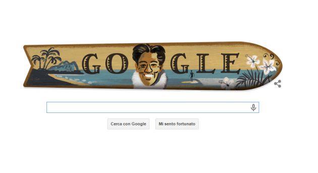 Google dedica il Doodle a Duke Kahanamoku inventore del surf moderno