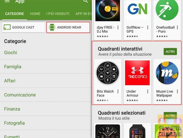 Google aggiunge la categoria quadranti interattivi per Android Wear sul Play Store