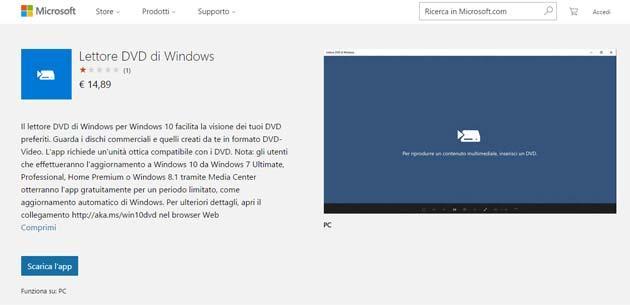 Microsoft, Lettore DVD per Windows 10 ufficiale disponibile a 15 euro