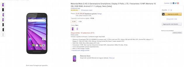 Motorola Moto G 2015 con 2 GB di RAM in vendita su Amazon Italia