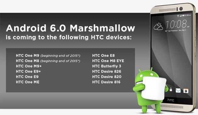 HTC, lista smartphone che riceveranno Android 6 Marshmallow