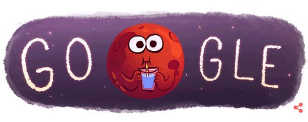 Google Doodle per la scoperta di acqua su Marte