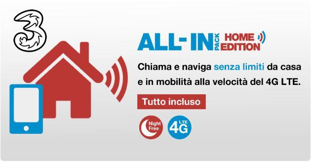 Tre All In Pack Home Edition: telefonia fissa e mobile a 15 euro al mese