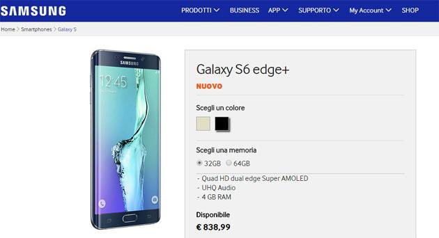 Samsung Galaxy S6 Edge+ in Italia da 839 euro, anche in Titanium Silver