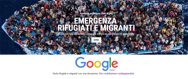Google chiede donazioni per Emergenza Rifugiati e Migranti