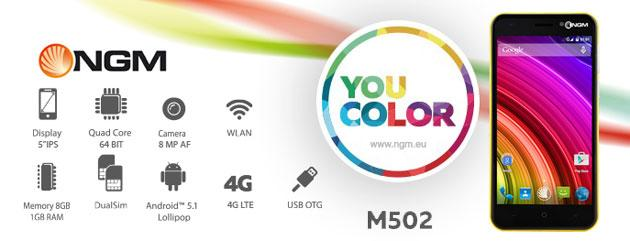 Foto NGM You Color M502, smartphone Android Lollipop, chip a 64-bit, display 5 HD da 140 euro
