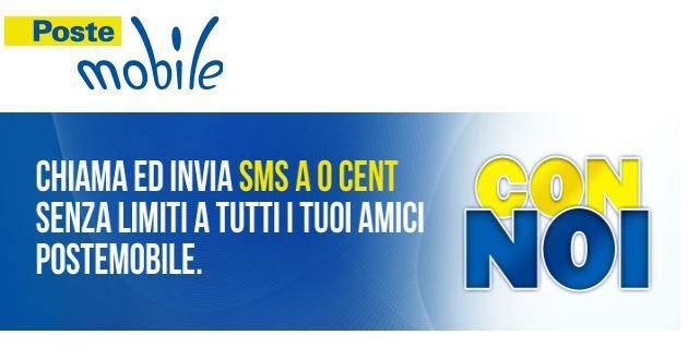 Opzione tariffaria Con Noi: SMS e chiamate verso tutti i numeri PosteMobile