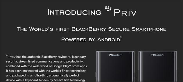 BlackBerry Priv in Italia a 849 euro: Specifiche e Recensioni