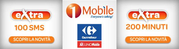 1Mobile, nuove opzioni Extra 200 Minuti e 100 SMS