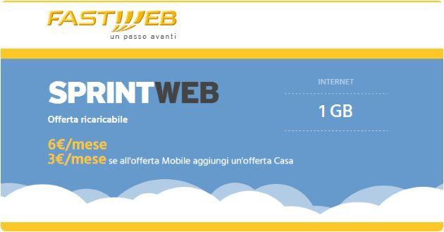 SprintWeb, l'offerta Fastweb per 1 GB di internet a 3 euro al mese