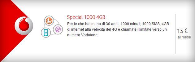 Vodafone Special 1000 4GB a 15 euro al mese per Under 30