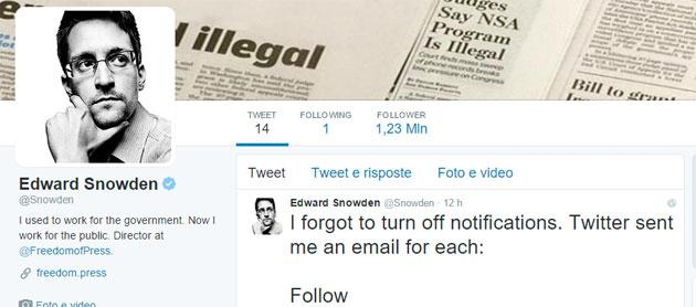 Edward Snowden arriva su Twitter: boom di followers