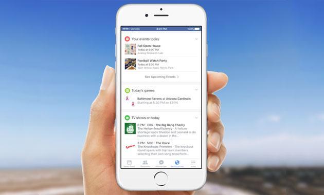 Facebook, nuove notifiche stile Google Now su mobile