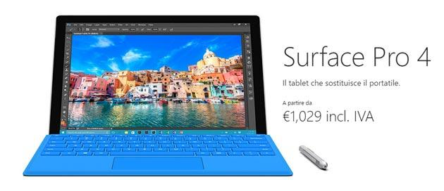 Microsoft Surface Pro 4 in Italia da 1029 euro