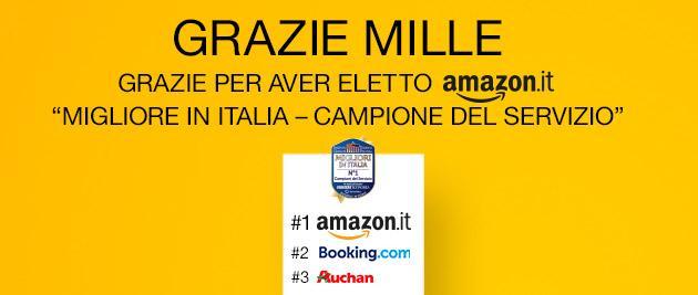 Amazon eletto Migliore in Italia, solo per oggi buono sconto di 10 euro