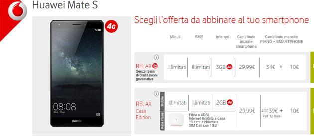Huawei Mate S con Vodafone, offerte Ricaricabile e Abbonamento