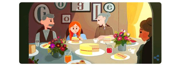 Google Doodle a Lucy Maud Montgomery, ha scritto Anna dai capelli rossi