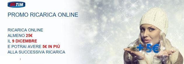 TIM Promo Ricarica: il 9 dicembre 5 Euro di Ricarica omaggio