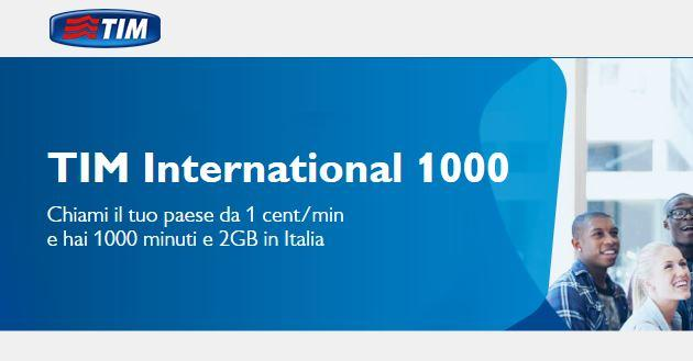 TIM International 1000, 2 GB e chiamate verso l'estero da 10 euro al mese