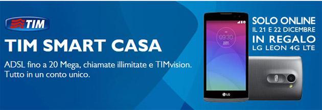 TIM regala LG Leon 4G LTE con TIM SMART CASA il 21 e 22 Dicembre
