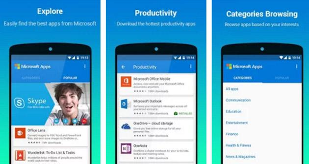 Microsoft Apps, app Android che raccoglie le app Microsoft per Android