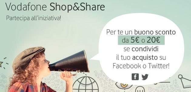 Vodafone Shop and Share, fino a 20 euro in buono acquisto