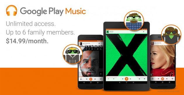Google lancia Play Music piano famiglia: 15 dollari per 6 utenti