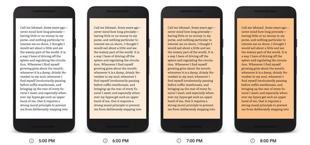 Night Light, Google Play Libri facilita la lettura di notte