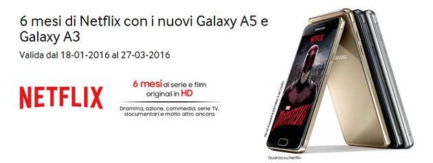 Netflix, Samsung regala 6 mesi acquistando Galaxy A5 e Galaxy A3