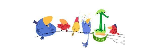 Google augura Buon 2016 con nuovo doodle a Capodanno